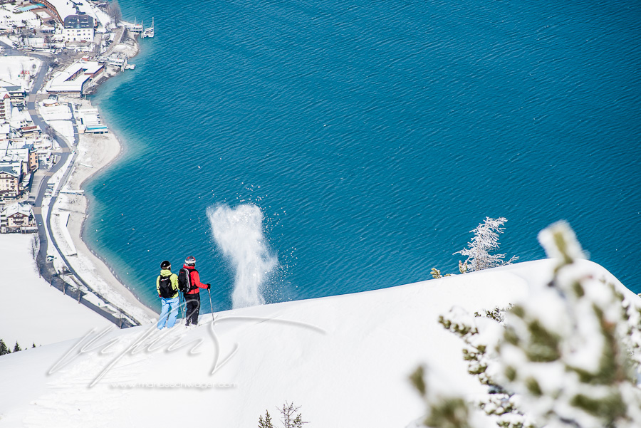 heu, see, jandl, achensee, tirol, skitour, schnee, schneekristalle, panorama, menschen